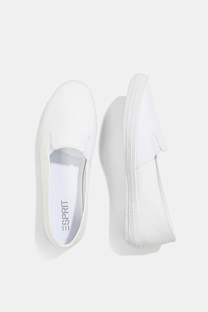 Slip-on canvas trainers with a logo sole, WHITE, detail image number 1
