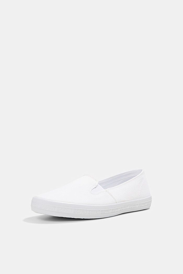 Slip-on canvas trainers with a logo sole, WHITE, detail image number 2
