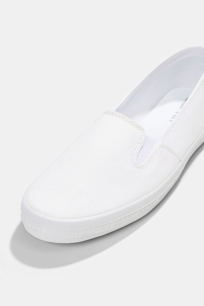 Slip-on canvas trainers with a logo sole, WHITE, detail image number 4