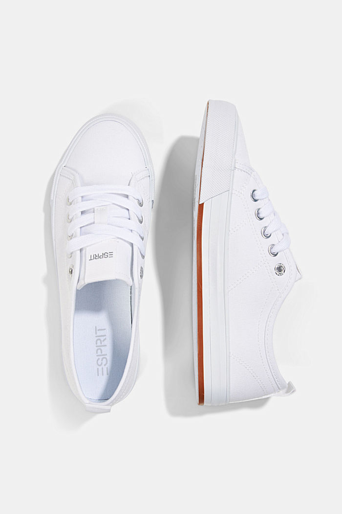 Canvas trainers, 100% cotton, WHITE, detail image number 1
