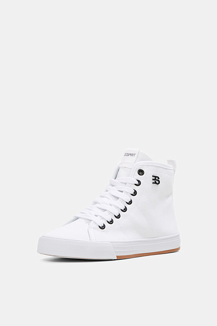 High-top canvas trainers, WHITE, detail image number 1