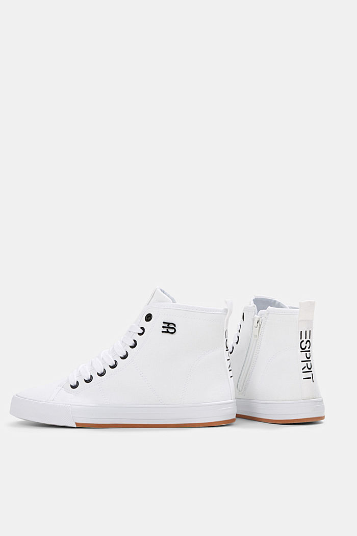 High-top canvas trainers, WHITE, detail image number 5