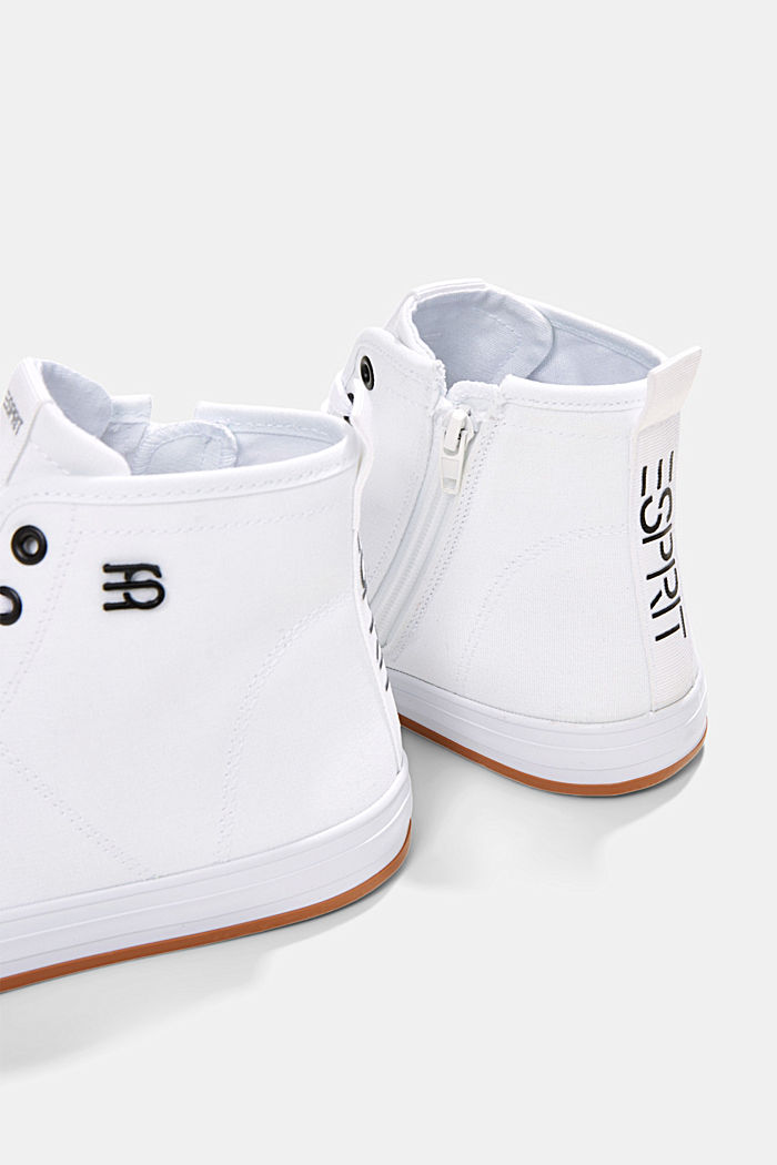 High-top canvas trainers, WHITE, detail image number 3