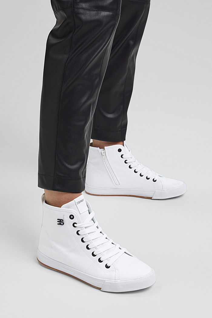 High-top canvas trainers