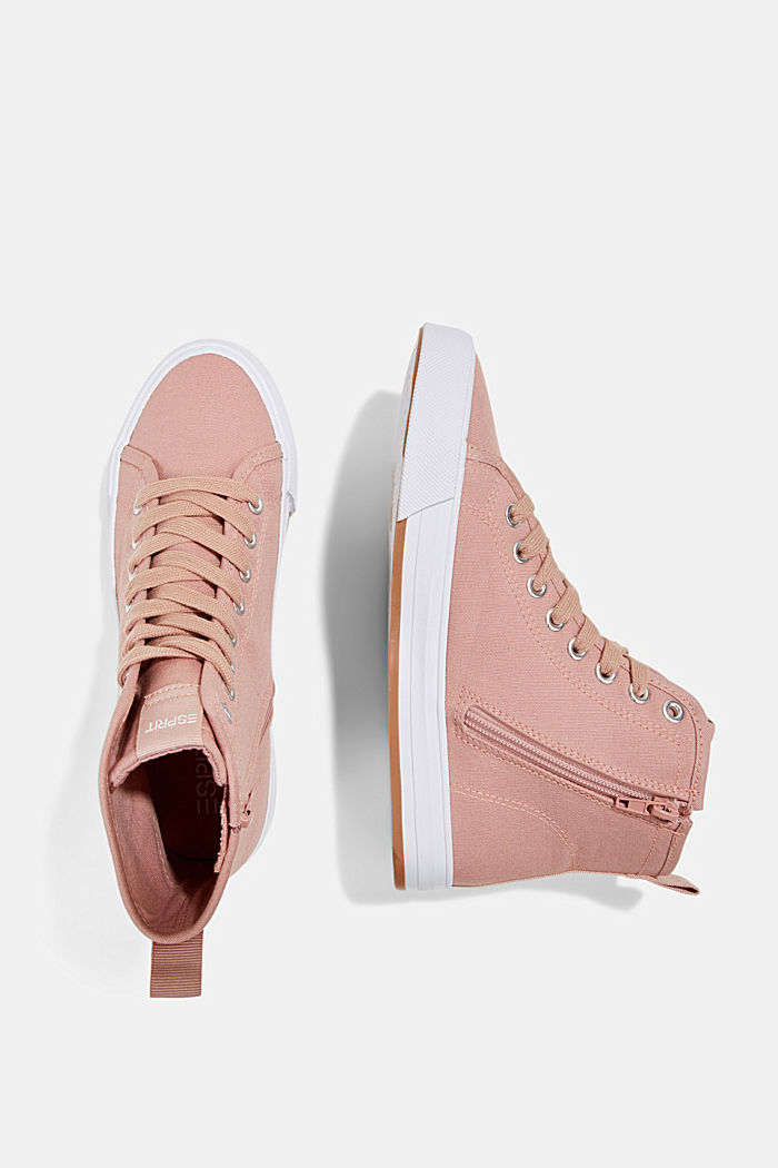 High-top canvas trainers, OLD PINK, detail image number 1