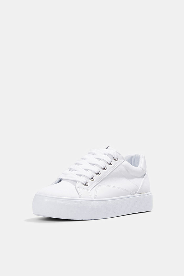 Canvas sneakers met monogramzool, WHITE, detail image number 2