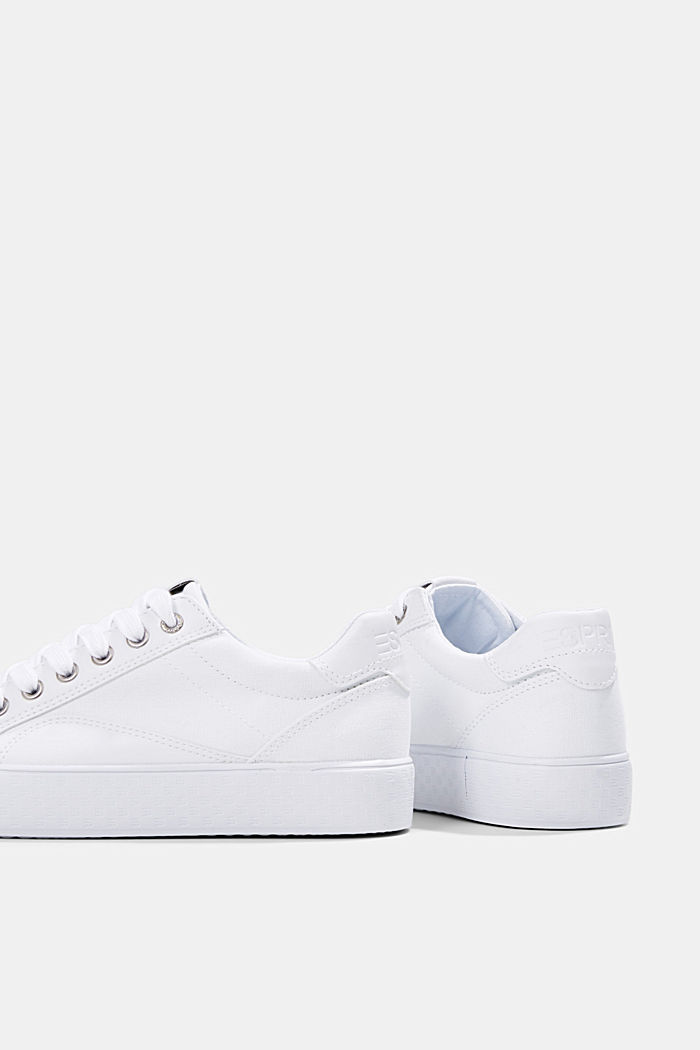 Canvas sneakers met monogramzool, WHITE, detail image number 4