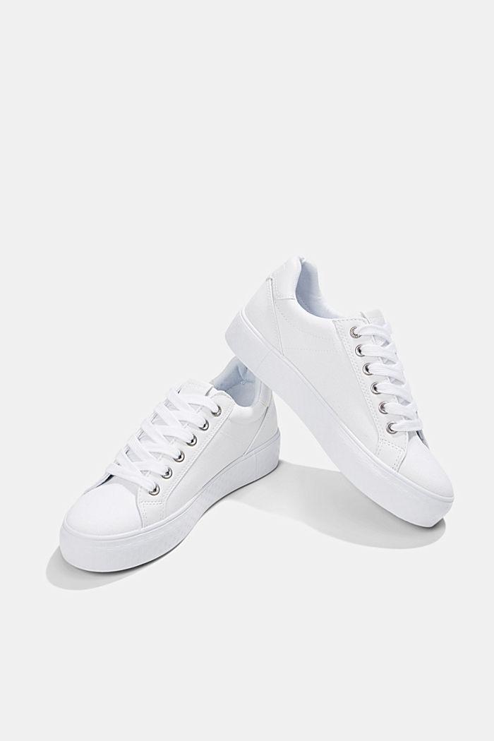 Canvas sneakers met monogramzool, WHITE, detail image number 5