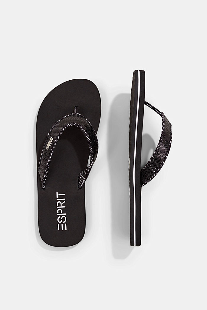 Slip slops with glittery straps, BLACK, detail image number 1