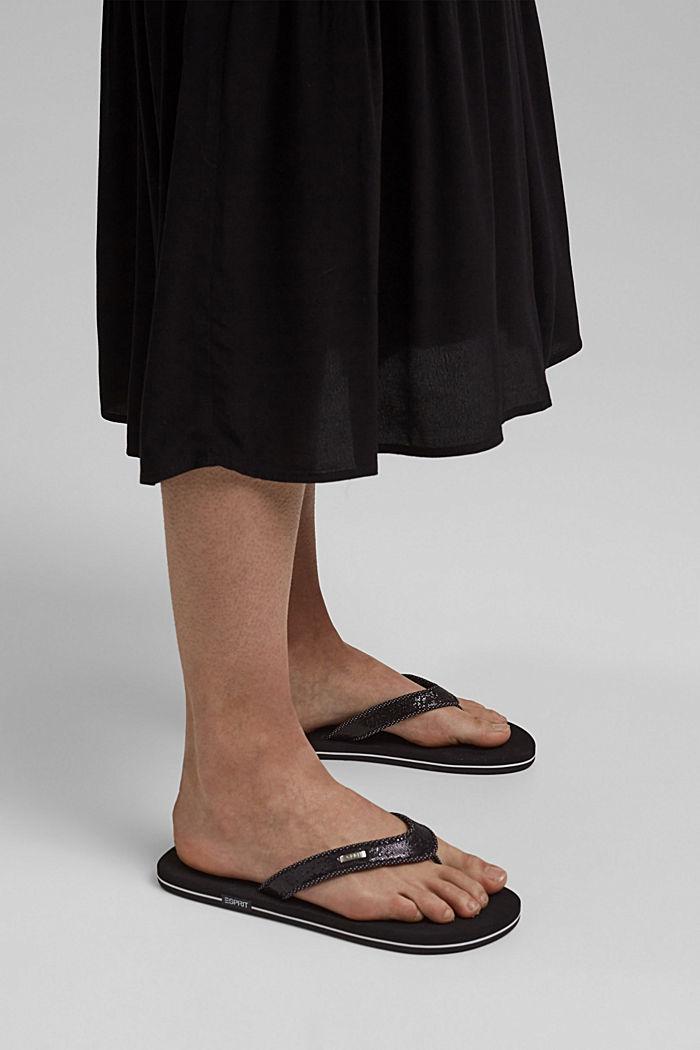 Sandales à entredoigts, brides brillantes