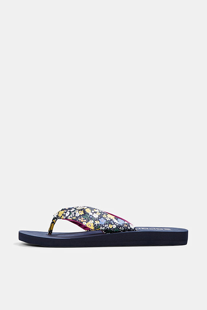 Thong sandals with a printed strap, DARK BLUE, detail image number 0