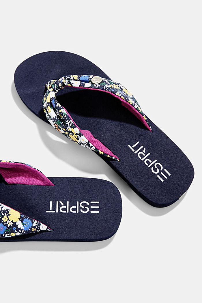 Thong sandals with a printed strap, DARK BLUE, detail image number 3