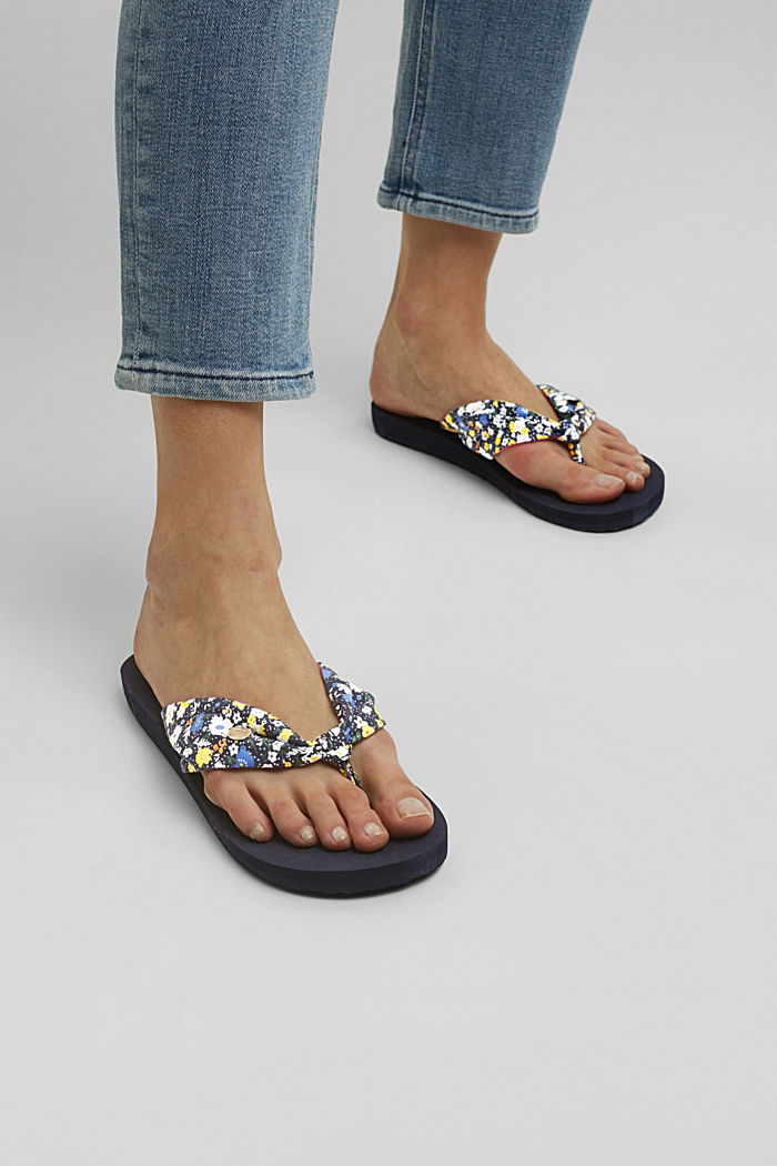 Thong sandals with a printed strap, DARK BLUE, detail image number 6