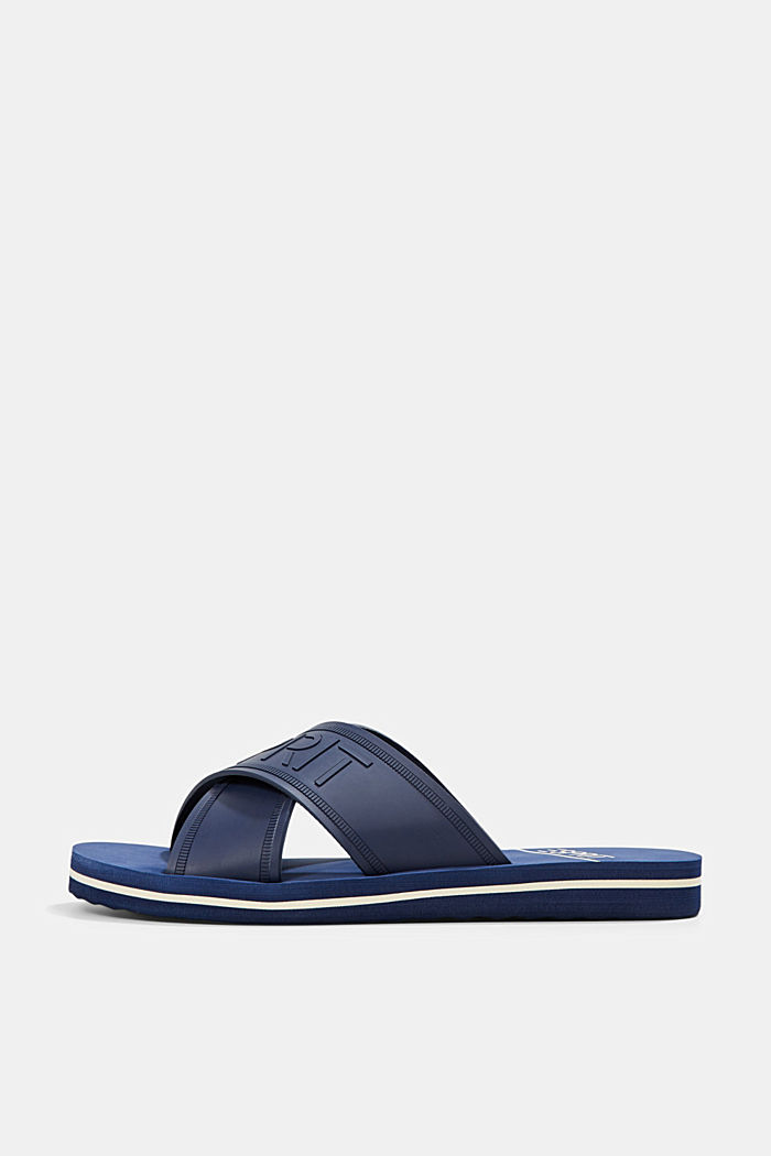 Pool sliders with logo straps, DARK BLUE, detail image number 0