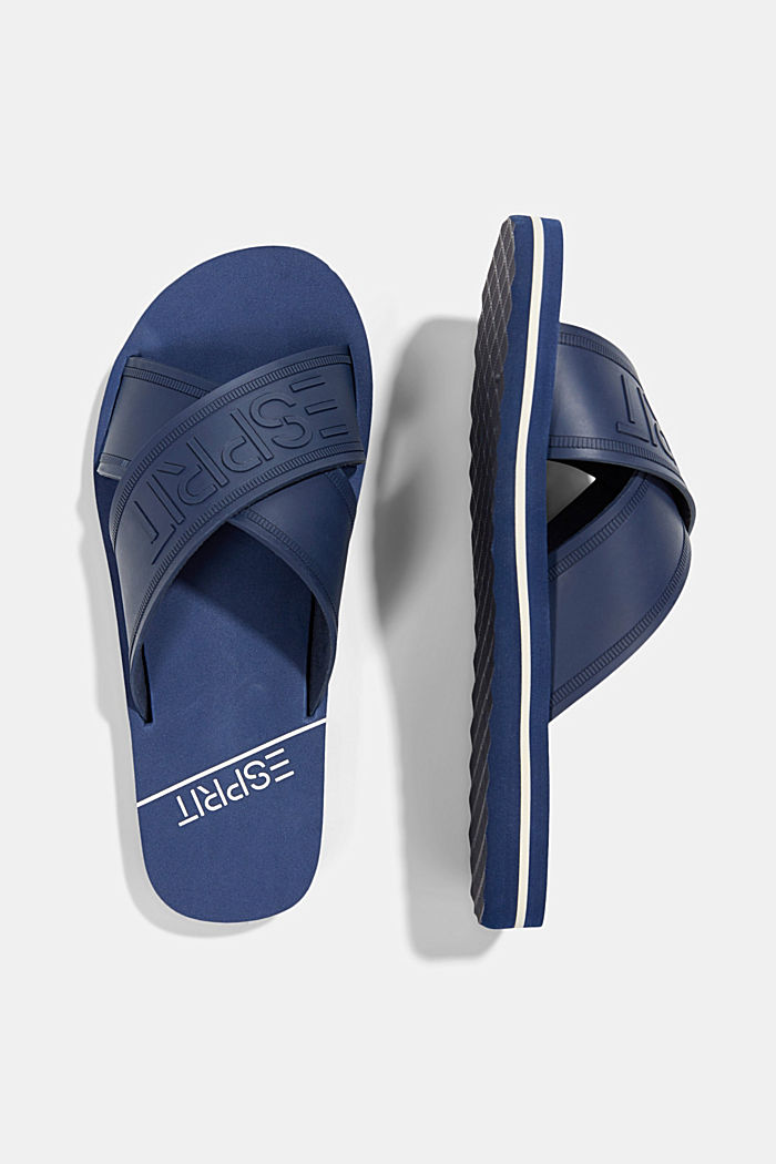Pool sliders with logo straps, DARK BLUE, detail image number 1