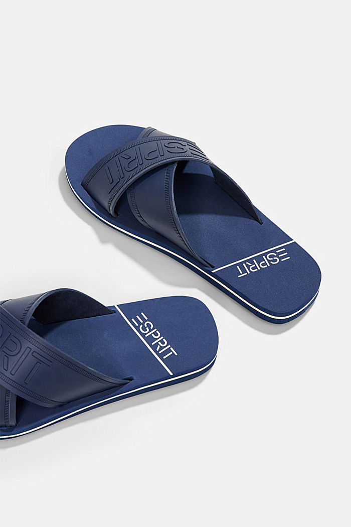 Pool sliders with logo straps, DARK BLUE, detail image number 5
