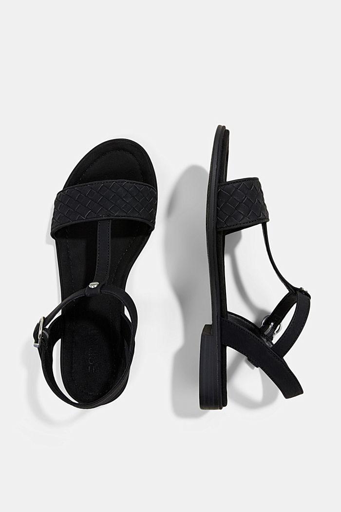 Faux leather braided sandals, BLACK, detail image number 1