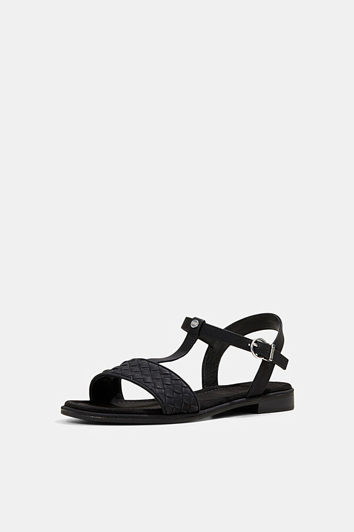 Faux leather braided sandals, BLACK, detail image number 2