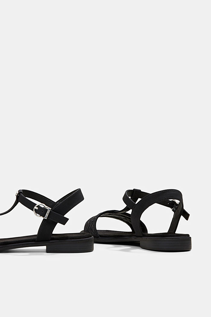 Faux leather braided sandals, BLACK, detail image number 5