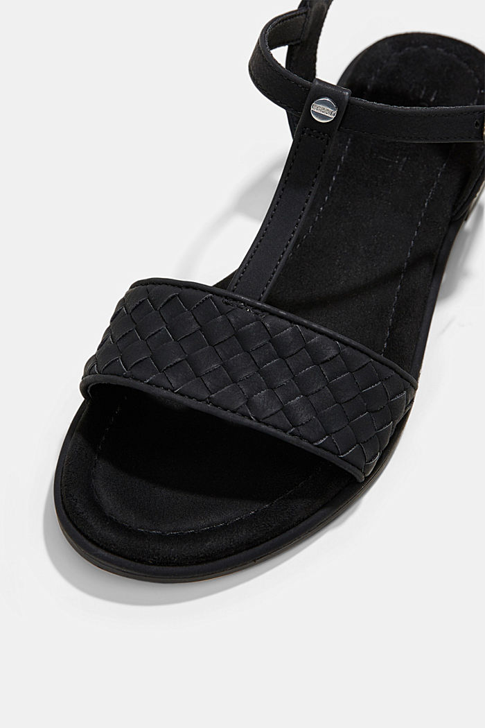 Faux leather braided sandals, BLACK, detail image number 4
