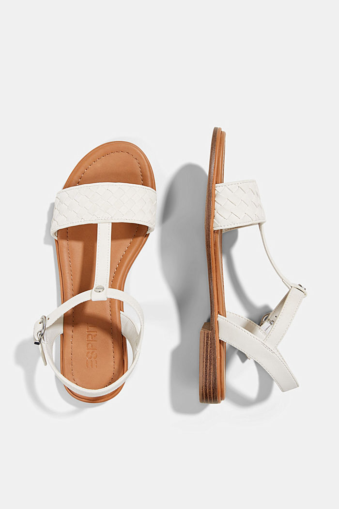 Faux leather braided sandals, OFF WHITE, detail image number 1