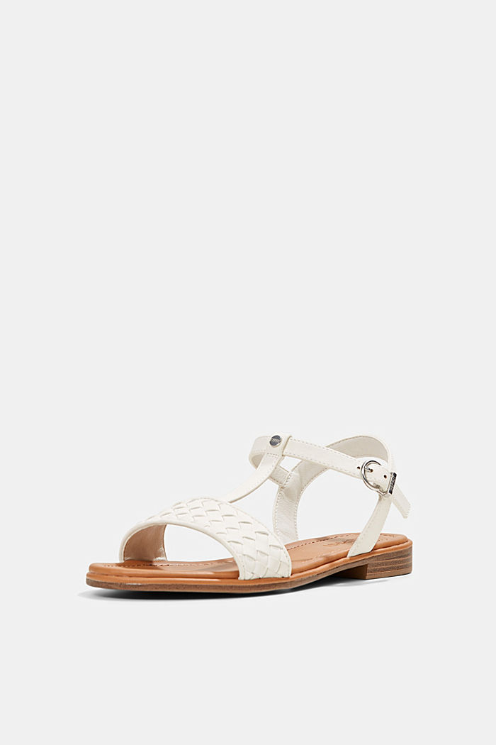 Faux leather braided sandals, OFF WHITE, detail image number 2
