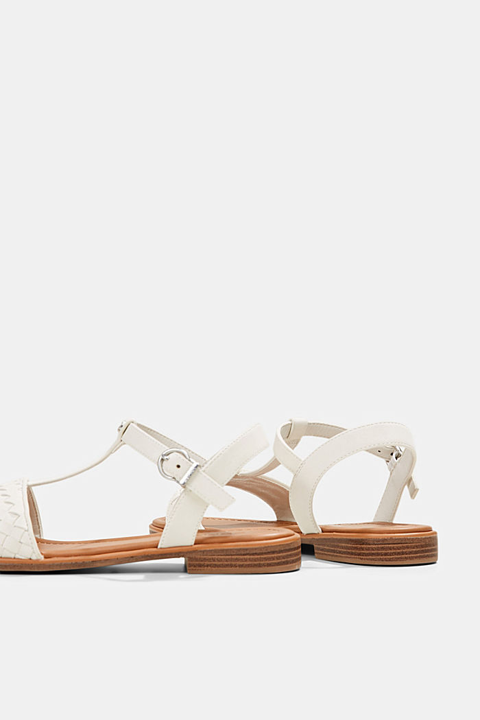Faux leather braided sandals, OFF WHITE, detail image number 5