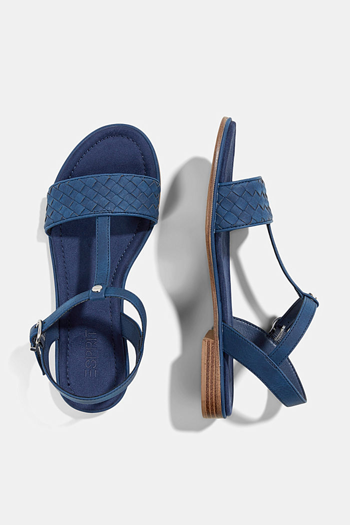 Faux leather braided sandals, DARK BLUE, detail image number 1