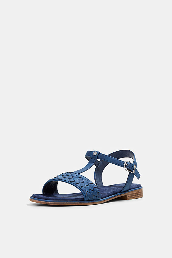 Faux leather braided sandals, DARK BLUE, detail image number 2