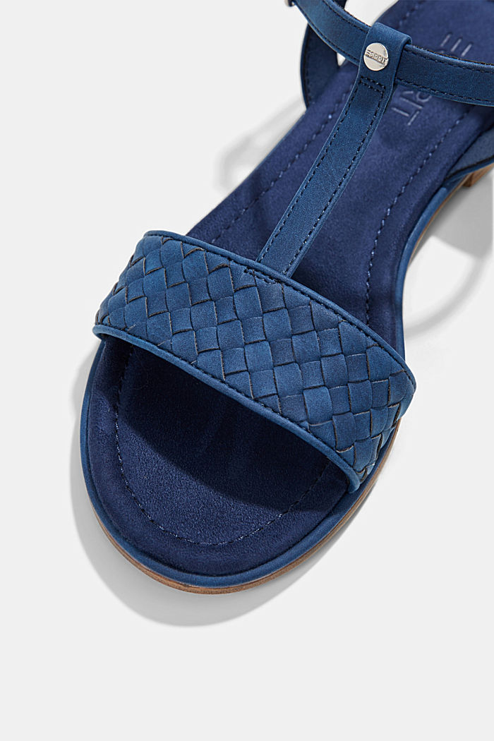 Faux leather braided sandals, DARK BLUE, detail image number 4