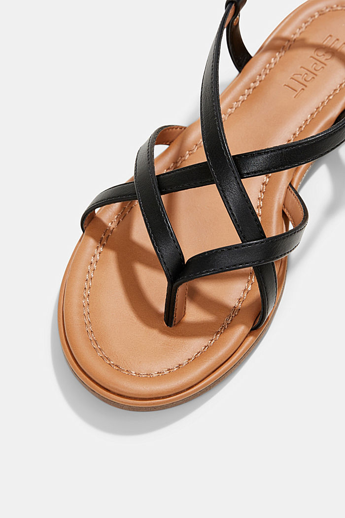 Faux leather strappy sandals, BLACK, detail image number 4