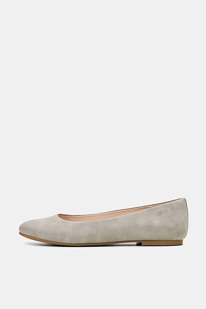 Faux suede ballerinas, LIGHT GREY, overview