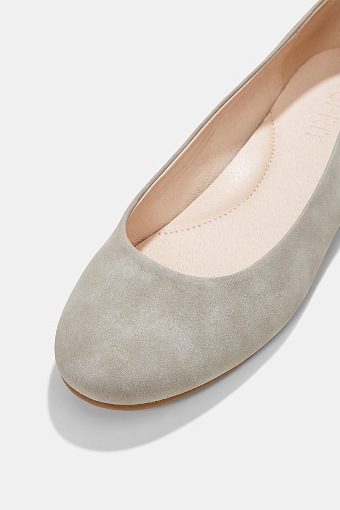 Faux suede ballerinas, LIGHT GREY, detail image number 4