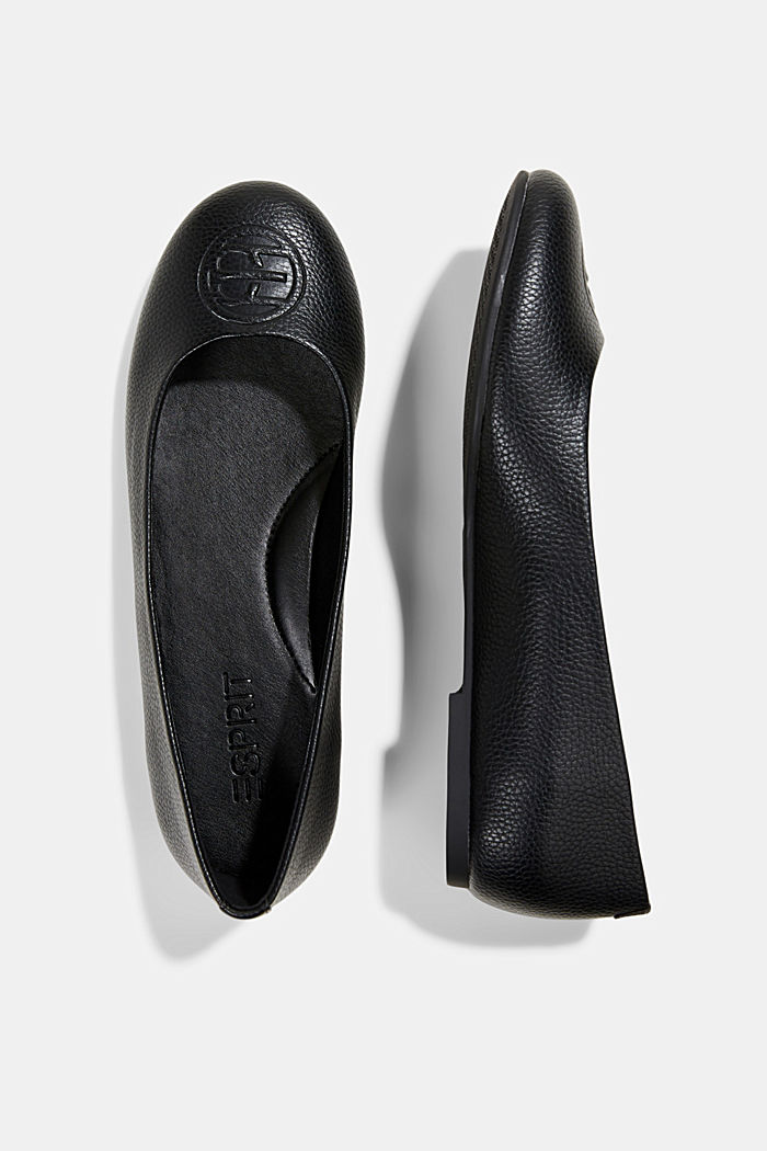 Ballerinas with a monogram in faux leather, BLACK, detail image number 1