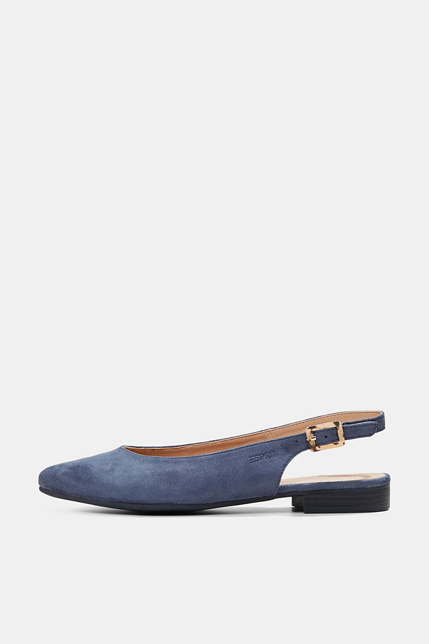 Faux suede sling back ballerinas