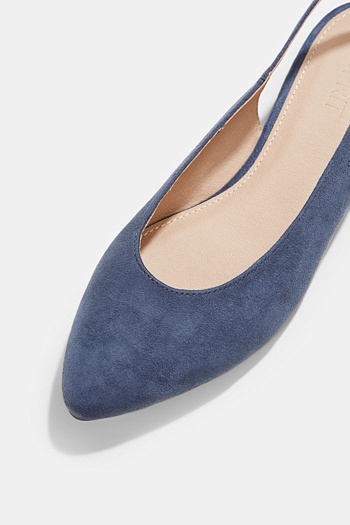 Faux suede sling-back ballerinas, LIGHT BLUE, detail image number 4