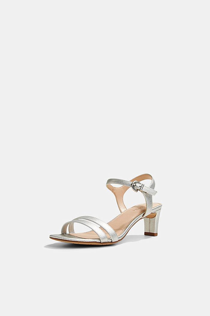 Riemchen-Sandalette im Metallic-Look, SILVER, detail image number 2