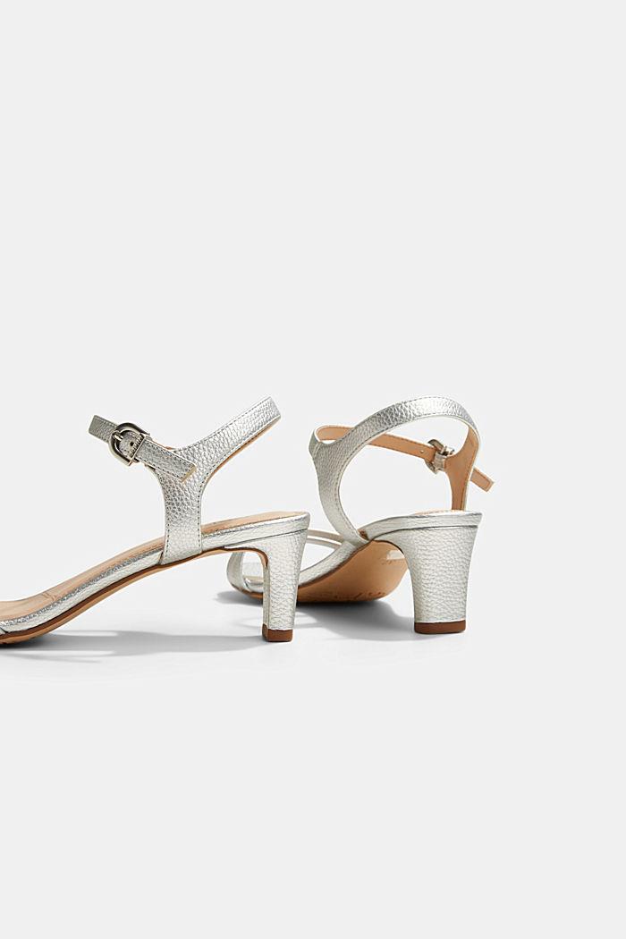 Riemchen-Sandalette im Metallic-Look, SILVER, detail image number 5