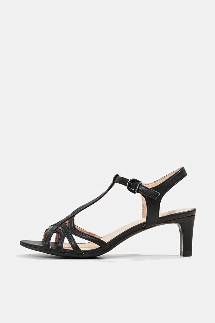 Sandalette mit Riemen in Flecht-Optik, BLACK, detail image number 0