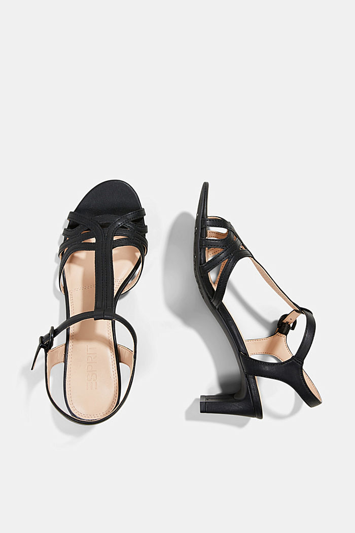 Sandalette mit Riemen in Flecht-Optik, BLACK, detail image number 1