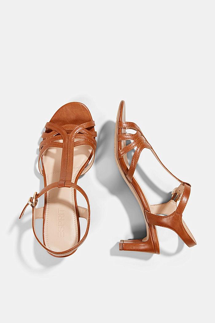 Sandaletit, joissa punotuilta näyttävät remmit, CARAMEL, detail image number 1