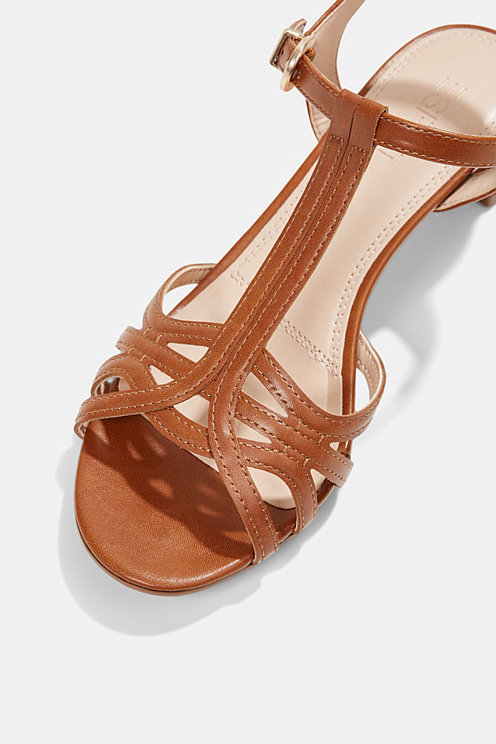 Sandaletit, joissa punotuilta näyttävät remmit, CARAMEL, detail image number 4