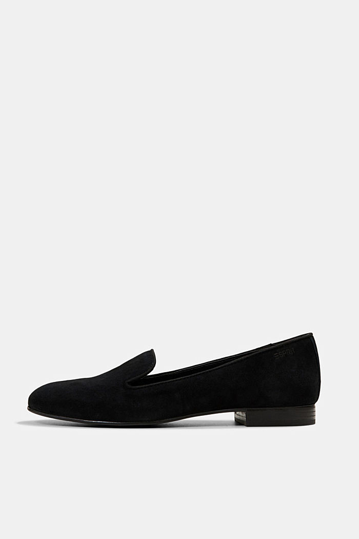 Elegante Slipper aus Rauleder, BLACK, detail image number 0
