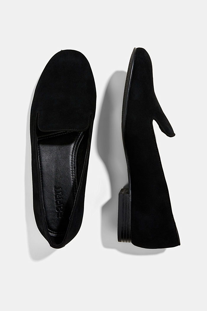 Elegante Slipper aus Rauleder, BLACK, detail image number 1