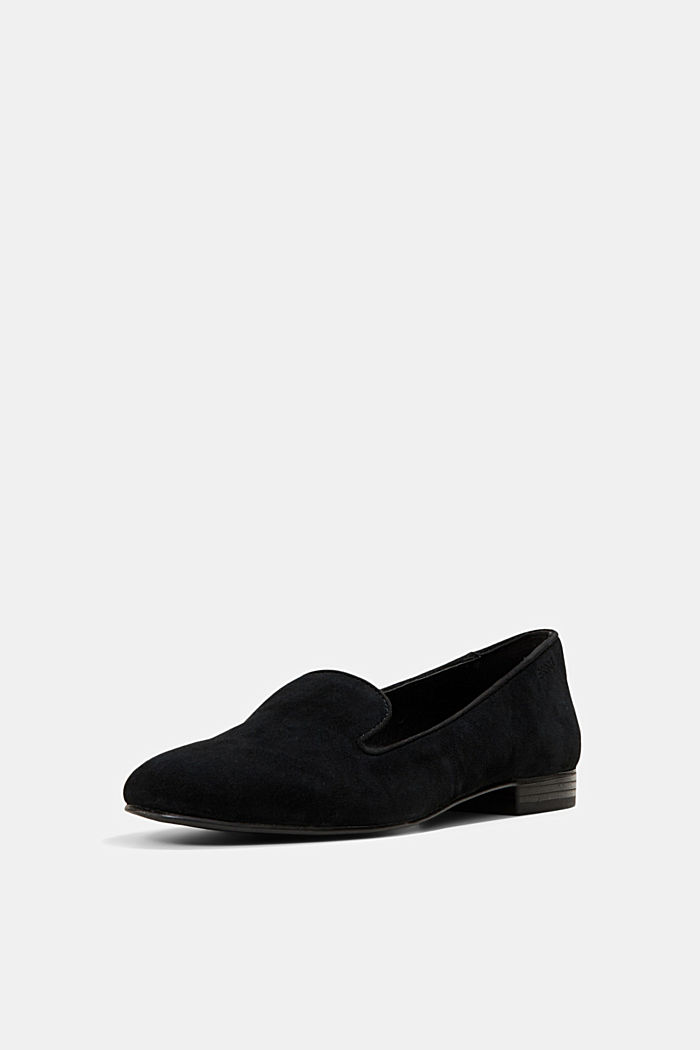 Elegante Slipper aus Rauleder, BLACK, detail image number 2