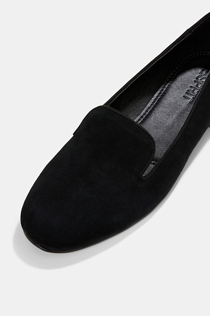 Elegante Slipper aus Rauleder, BLACK, detail image number 4