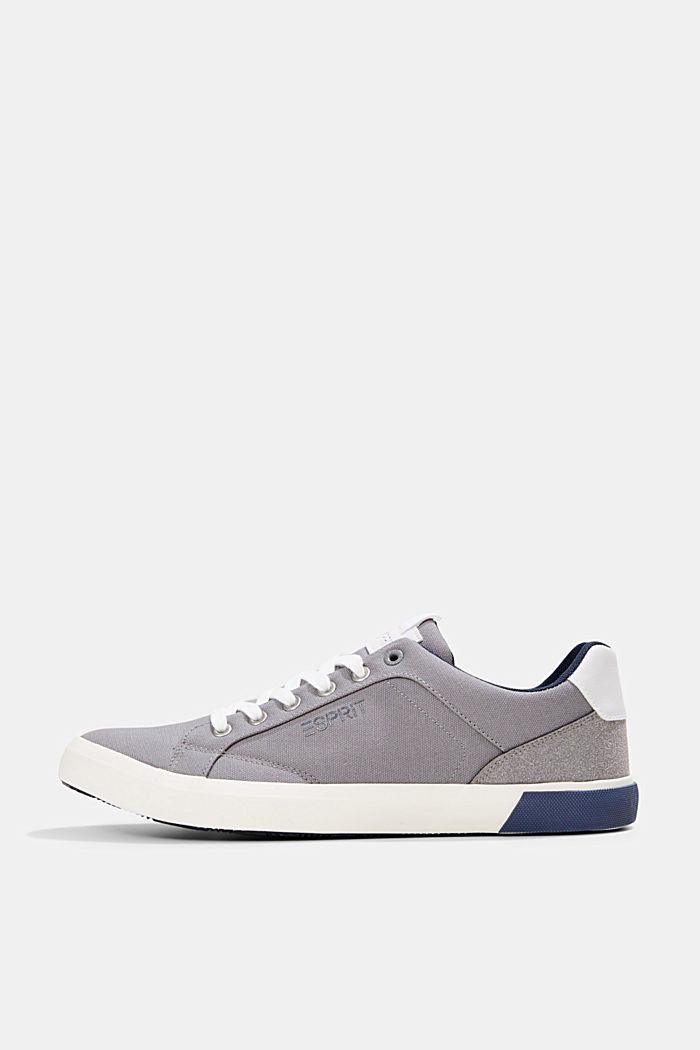 Canvas trainers with a faux leather finish, LIGHT GREY, detail image number 0