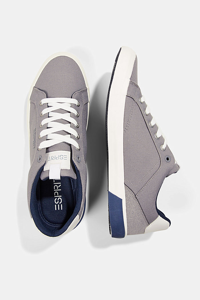 Canvas trainers with a faux leather finish, LIGHT GREY, detail image number 1