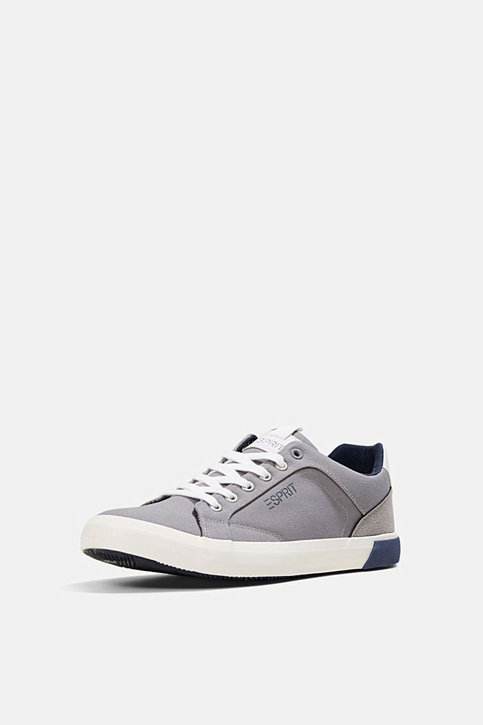 Canvas trainers with a faux leather finish, LIGHT GREY, detail image number 2