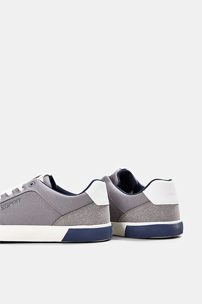 Canvas trainers with a faux leather finish, LIGHT GREY, detail image number 5